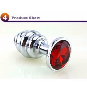 Втулка спираль металл, красный кристалл