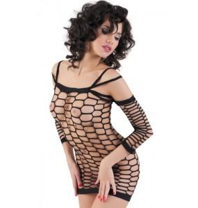 Платье-сетка бесшовное с рукавами, черное-S/M