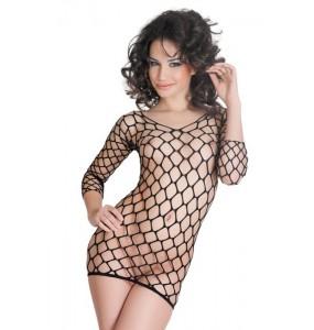 Платье бесшовное с рукавами, из крупной сетки, черное-S/L