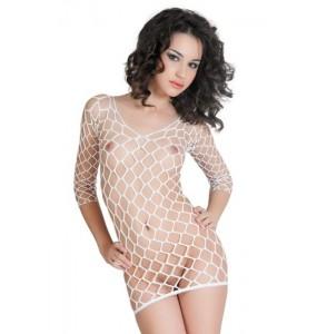 Платье бесшовное с рукавами, из крупной сетки, белое-S/L