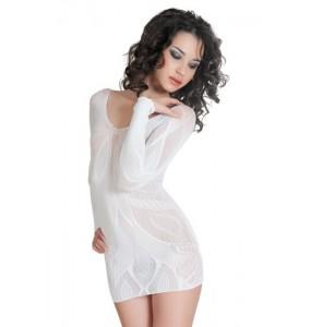 Платье бесшовное с рукавами, с цветочным рисунком, белое-S/L